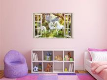 FULL COLOUR Unicorn Wall Art, Sticker, PVC Decal, Modern Transfer, 3D Window,